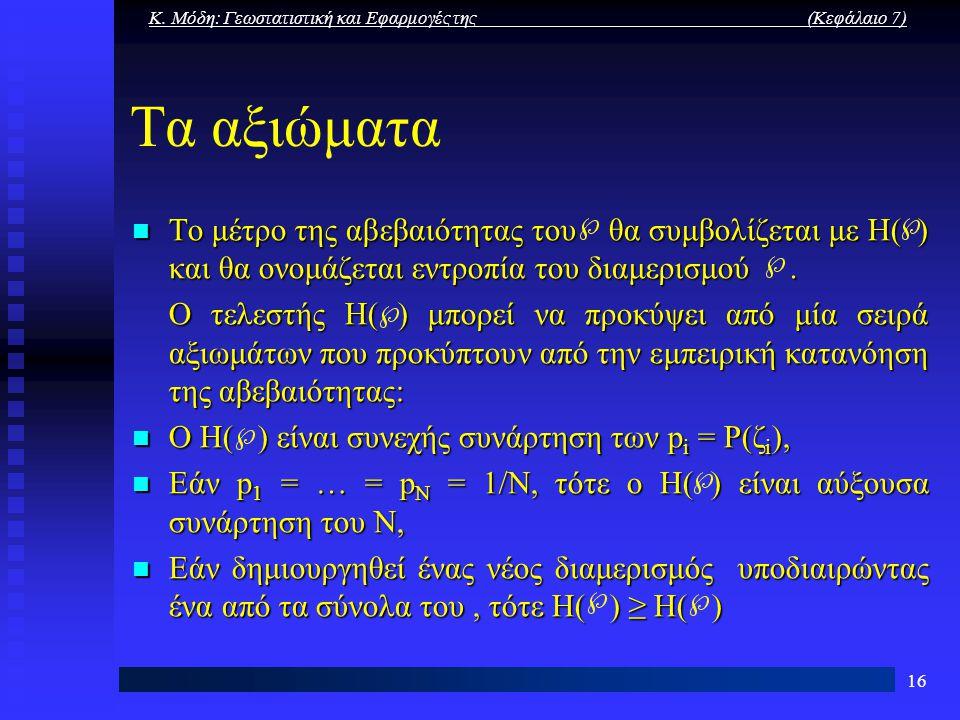 Κ. Μόδη: Γεωστατιστική και Εφαρμογές της (Κεφάλαιο 7) 16 Τα αξιώματα Το μέτρο της αβεβαιότητας του θα συμβολίζεται με Η( ) και θα ονομάζεται εντροπία