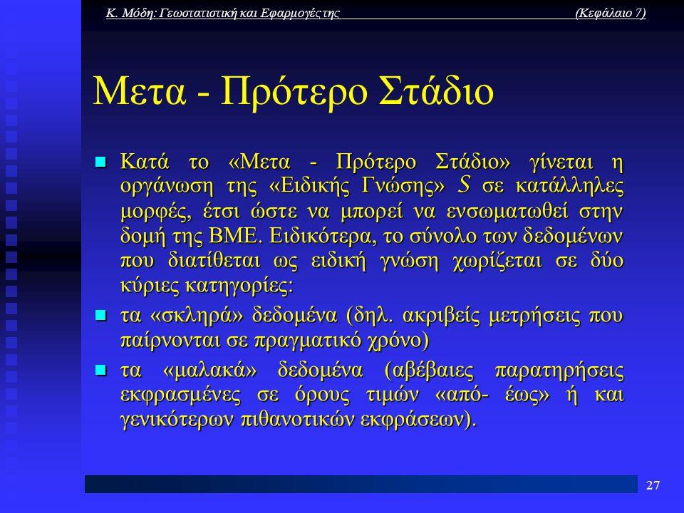 Κ. Μόδη: Γεωστατιστική και Εφαρμογές της (Κεφάλαιο 7) 27 Μετα - Πρότερο Στάδιο Κατά το «Μετα - Πρότερο Στάδιο» γίνεται η οργάνωση της «Ειδικής Γνώσης»