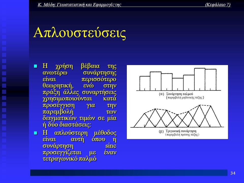 Κ. Μόδη: Γεωστατιστική και Εφαρμογές της (Κεφάλαιο 7) 34 Απλουστεύσεις Η χρήση βέβαια της ανωτέρω συνάρτησης είναι περισσότερο θεωρητική, ενώ στην πρά