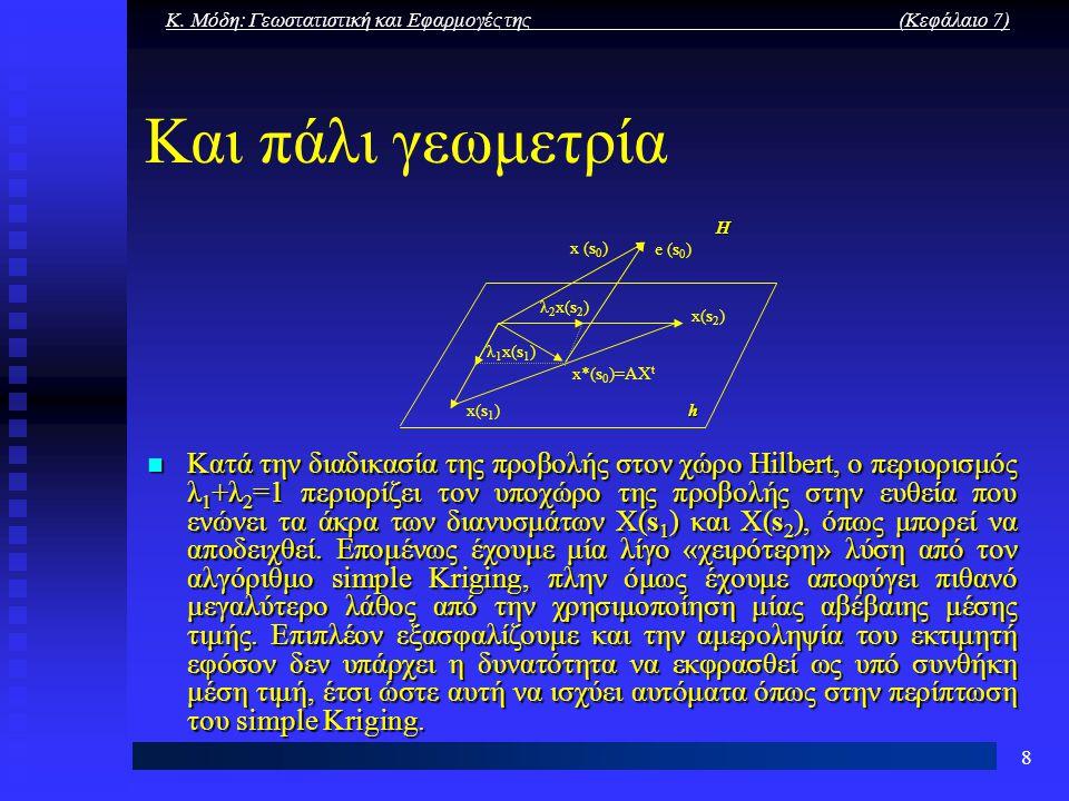 Κ. Μόδη: Γεωστατιστική και Εφαρμογές της (Κεφάλαιο 7) 8 Και πάλι γεωμετρία Κατά την διαδικασία της προβολής στον χώρο Ηilbert, ο περιορισμός λ 1 +λ 2
