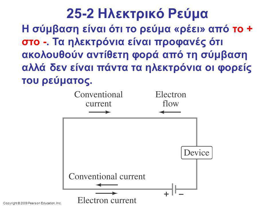Copyright © 2009 Pearson Education, Inc.Η σύμβαση είναι ότι το ρεύμα «ρέει» από το + στο -.