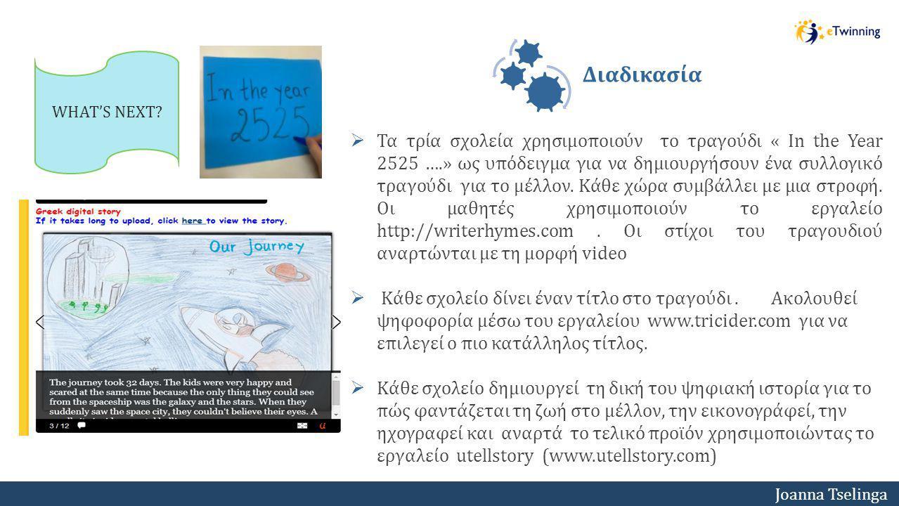 Joanna Tselinga  Τα τρία σχολεία χρησιμοποιούν το τραγούδι « In the Year 2525 ….» ως υπόδειγμα για να δημιουργήσουν ένα συλλογικό τραγούδι για το μέλ