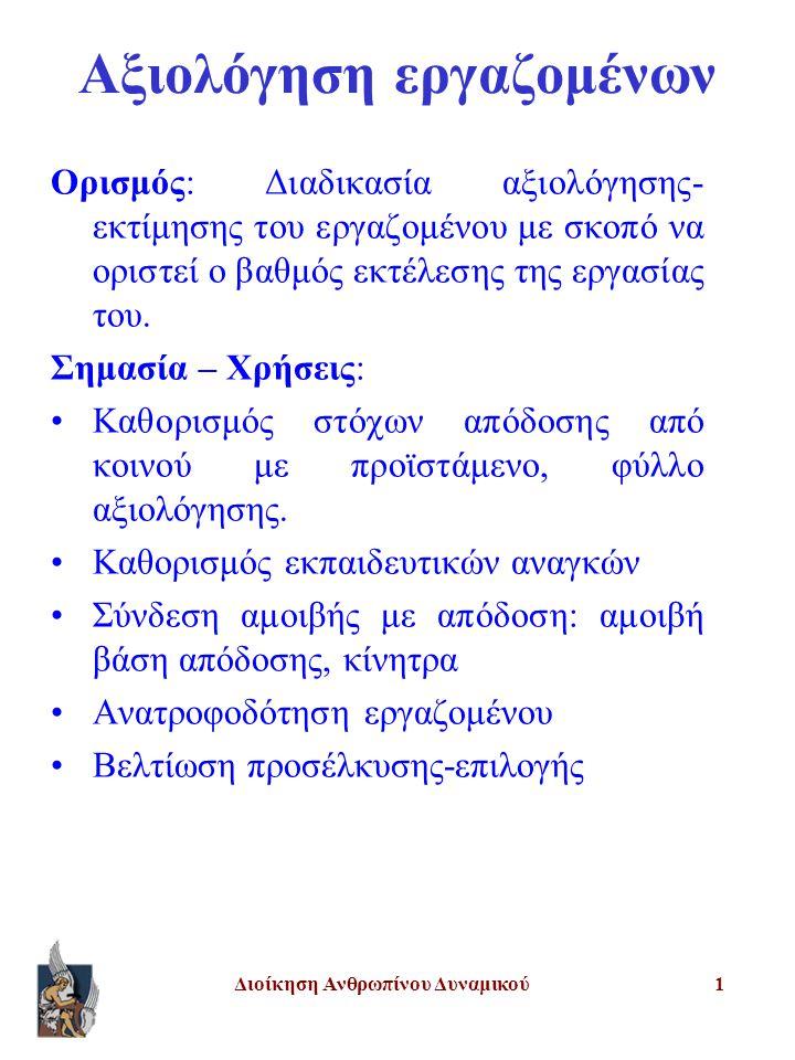 Διοίκηση Ανθρωπίνου Δυναμικού22 Υποκειμενικές μέθοδοι αξιολόγησης Συγκριτικές: Κατάταξη Επιβεβλημένης επιλογής Αξιολόγηση με βάση απόλυτα πρότυπα απόδοσης Γραφικές κλίμακες κατάταξης Σταθμισμένος κατάλογος Κρίσιμα περιστατικά Κλίμακες αξιολόγησης συμπεριφοράς στην εργασία Αξιολόγηση με τη βοήθεια ψυχολόγων Κέντρα αξιολόγησης