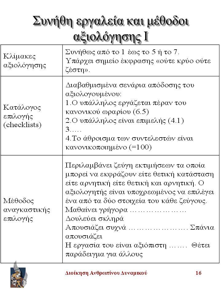 Διοίκηση Ανθρωπίνου Δυναμικού16 Συνήθη εργαλεία και μέθοδοι αξιολόγησης I