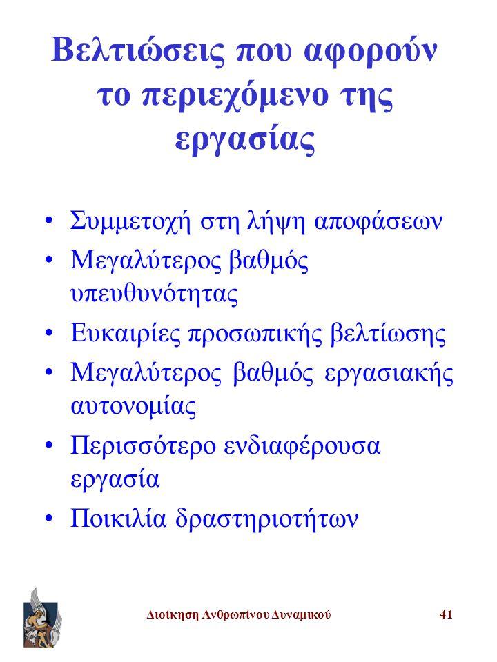 Διοίκηση Ανθρωπίνου Δυναμικού41 Βελτιώσεις που αφορούν το περιεχόμενο της εργασίας Συμμετοχή στη λήψη αποφάσεων Μεγαλύτερος βαθμός υπευθυνότητας Ευκαιρίες προσωπικής βελτίωσης Μεγαλύτερος βαθμός εργασιακής αυτονομίας Περισσότερο ενδιαφέρουσα εργασία Ποικιλία δραστηριοτήτων