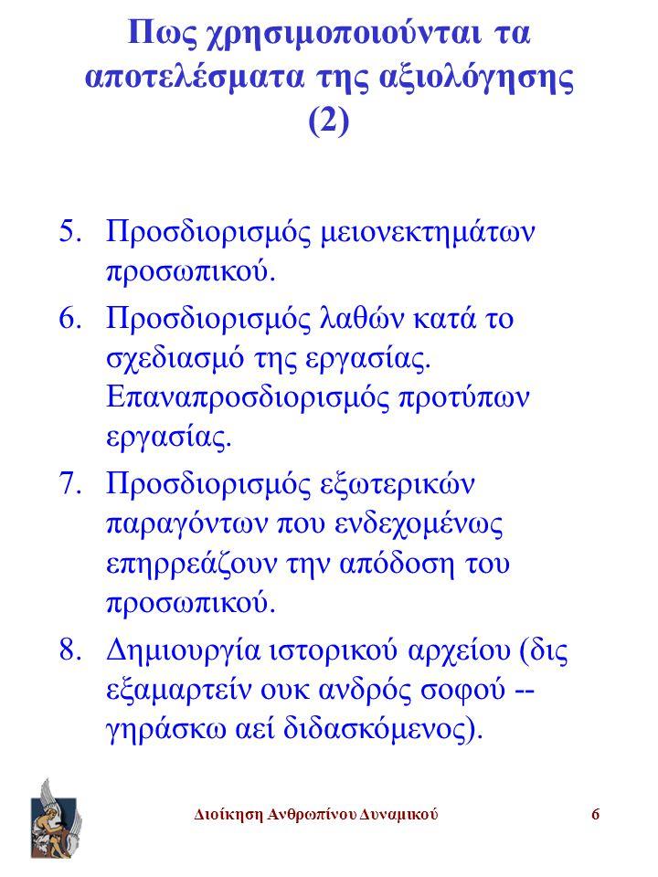 Διοίκηση Ανθρωπίνου Δυναμικού6 5.Προσδιορισμός μειονεκτημάτων προσωπικού. 6.Προσδιορισμός λαθών κατά το σχεδιασμό της εργασίας. Επαναπροσδιορισμός προ