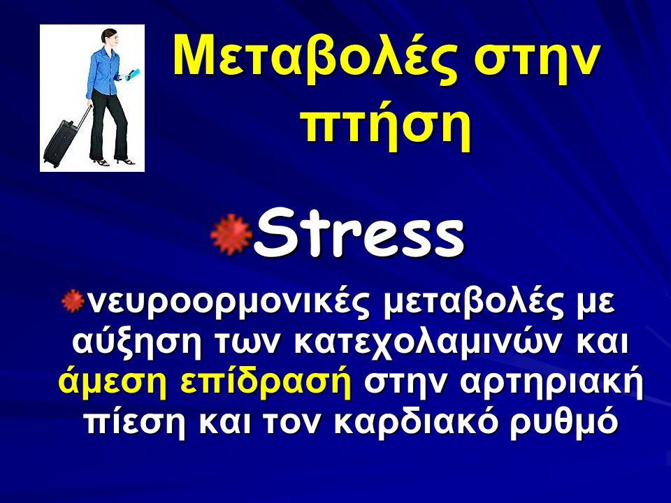 Μεταβολές στην πτήση Stress νευροορμονικές μεταβολές με αύξηση των κατεχολαμινών και άμεση επίδρασή στην αρτηριακή πίεση και τον καρδιακό ρυθμό