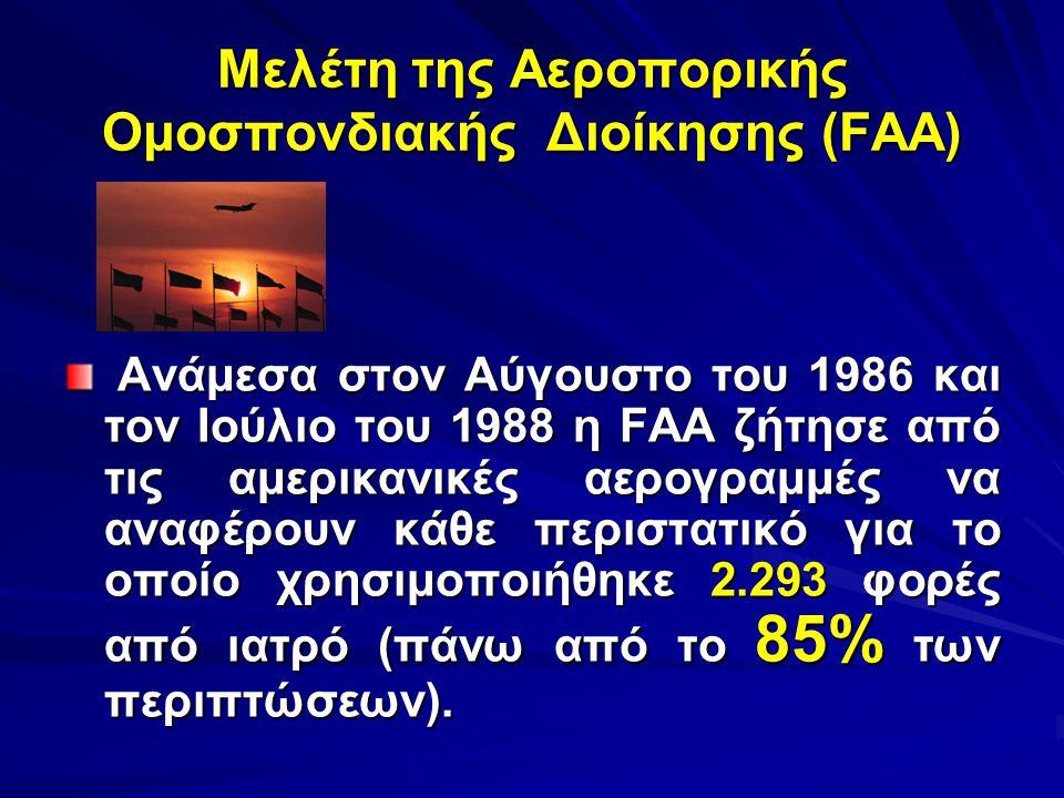 Μελέτη της Αεροπορικής Ομοσπονδιακής Διοίκησης (FAA) Ανάμεσα στον Αύγουστο του 1986 και τον Ιούλιο του 1988 η FAA ζήτησε από τις αμερικανικές αερογραμ
