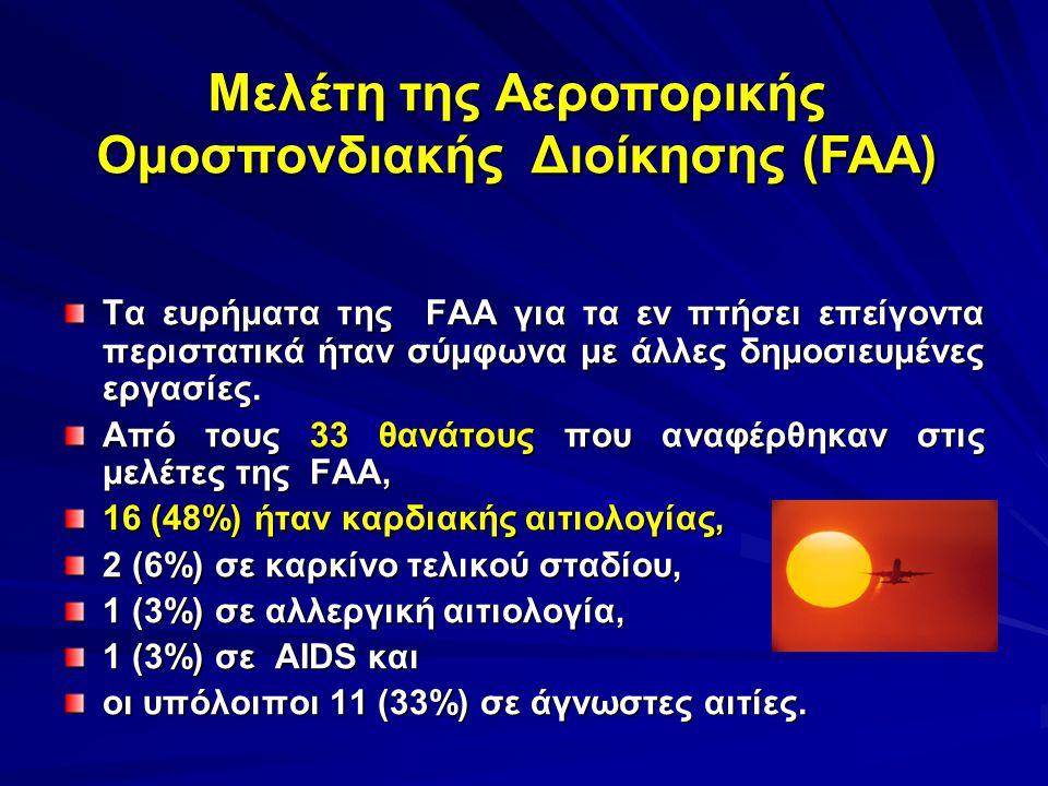 Τα ευρήματα της FAA για τα εν πτήσει επείγοντα περιστατικά ήταν σύμφωνα με άλλες δημοσιευμένες εργασίες. Από τους 33 θανάτους που αναφέρθηκαν στις μελ