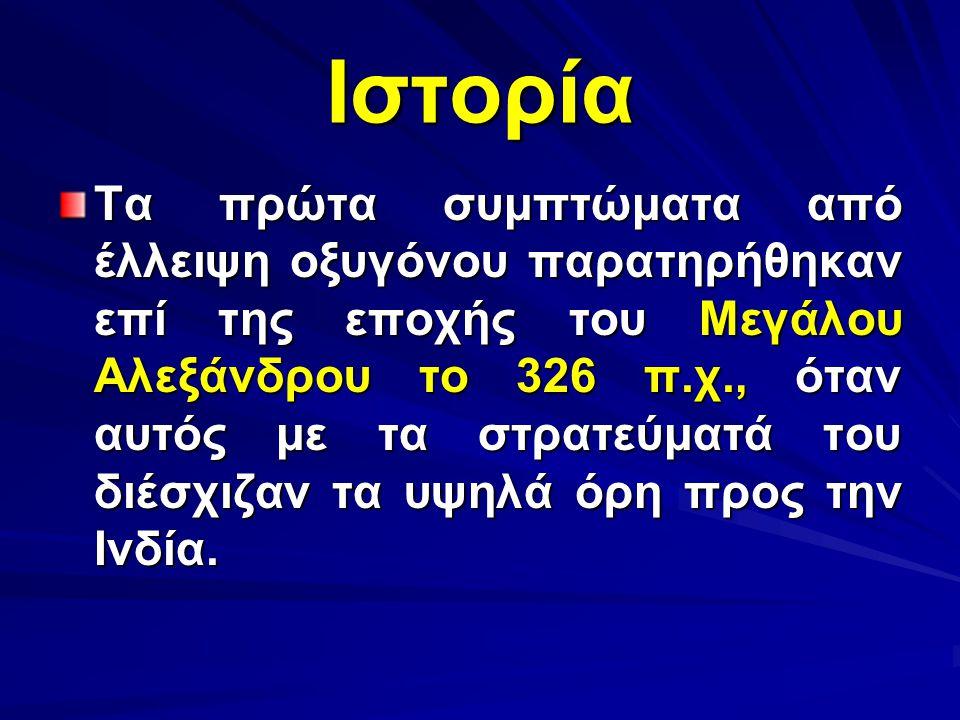 Ιστορία Τα πρώτα συμπτώματα από έλλειψη οξυγόνου παρατηρήθηκαν επί της εποχής του Μεγάλου Αλεξάνδρου το 326 π.χ., όταν αυτός με τα στρατεύματά του διέ