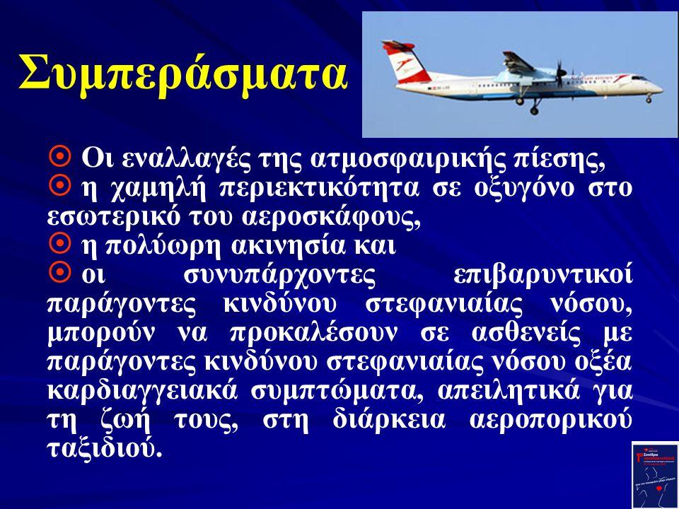 Συμπεράσματα ¤ Οι εναλλαγές της ατμοσφαιρικής πίεσης, ¤ η χαμηλή περιεκτικότητα σε οξυγόνο στο εσωτερικό του αεροσκάφους, ¤ η πολύωρη ακινησία και ¤ ο