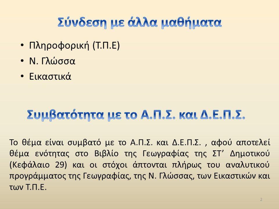 Πληροφορική (Τ.Π.Ε) Ν.Γλώσσα Εικαστικά 2 Το θέμα είναι συμβατό με το Α.Π.Σ.