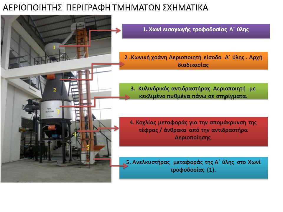Αεριοποιητής Καθέτου ροής ( Downdraft) αεριοποιητής αποτελείται από τρεις μεγάλες ενότητες: Κέλυφος ( δεξαμενή ) τροφοδοσίας Α΄ ύλης με δύο αυτόματες