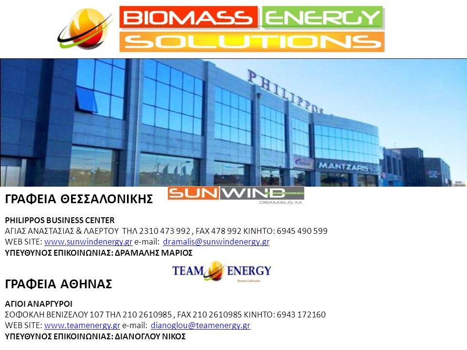ΓΡΑΦΕΙΑ ΘΕΣΣΑΛΟΝΙΚΗΣ PHILIPPOS BUSINESS CENTER ΑΓΙΑΣ ΑΝΑΣΤΑΣΙΑΣ & ΛΑΕΡΤΟΥ ΤΗΛ 2310 473 992, FAX 478 992 ΚΙΝΗΤΟ: 6945 490 599 WEB SITE: www.sunwindenergy.gr e-mail: dramalis@sunwindenergy.grwww.sunwindenergy.grdramalis@sunwindenergy.gr ΥΠΕΥΘΥΝΟΣ ΕΠΙΚΟΙΝΩΝΙΑΣ: ΔΡΑΜΑΛΗΣ ΜΑΡΙΟΣ ΓΡΑΦΕΙΑ AΘΗΝΑΣ ΑΓΙΟΙ ΑΝΑΡΓΥΡΟΙ ΣΟΦΟΚΛΗ ΒΕΝΙΖΕΛΟΥ 107 ΤΗΛ 210 2610985, FAX 210 2610985 ΚΙΝΗΤΟ: 6943 172160 WEB SITE: www.teamenergy.gr e-mail: dianoglou@teamenergy.grwww.teamenergy.grdianoglou@teamenergy.gr ΥΠΕΥΘΥΝΟΣ ΕΠΙΚΟΙΝΩΝΙΑΣ: ΔΙΑΝΟΓΛΟΥ ΝΙΚΟΣ