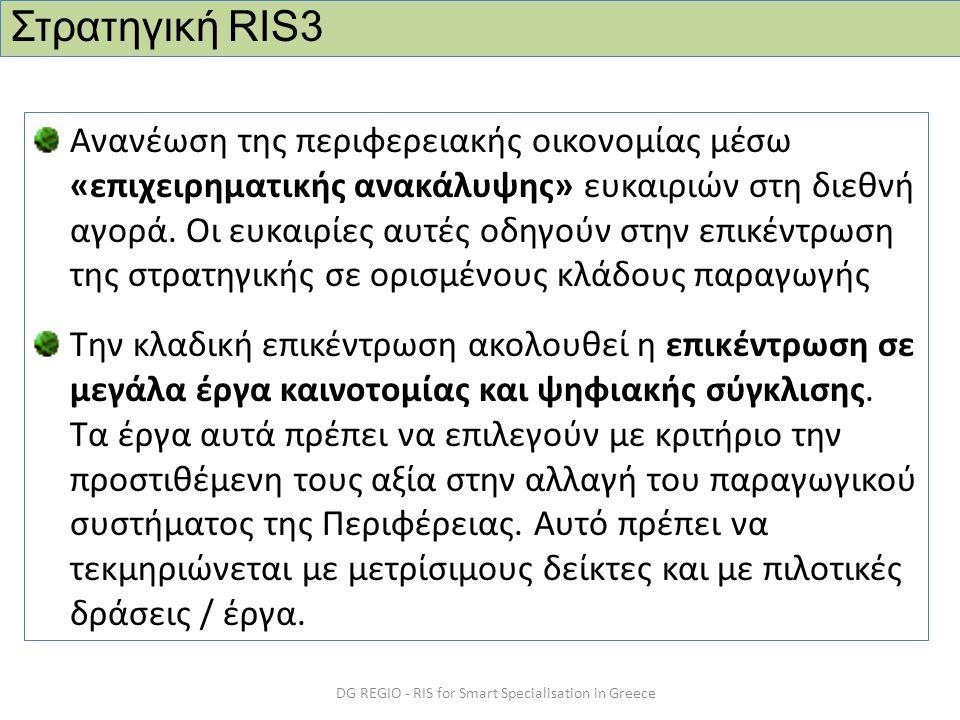 DG REGIO - RIS for Smart Specialisation in Greece Ανανέωση της περιφερειακής οικονομίας μέσω «επιχειρηματικής ανακάλυψης» ευκαιριών στη διεθνή αγορά.