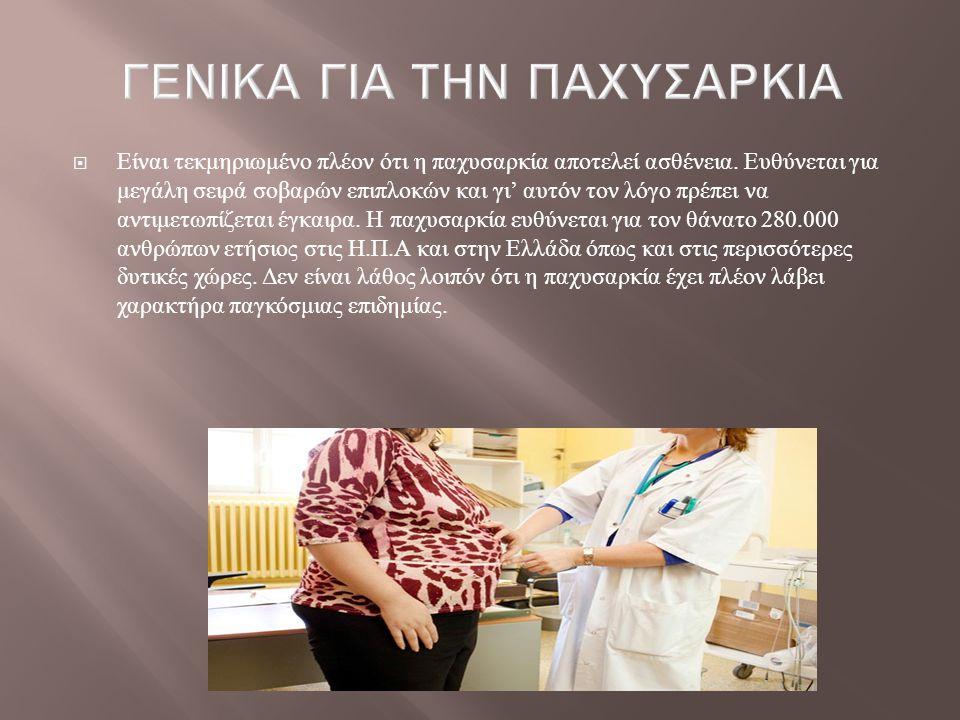  Είναι τεκμηριωμένο πλέον ότι η παχυσαρκία αποτελεί ασθένεια. Ευθύνεται για μεγάλη σειρά σοβαρών επιπλοκών και γι ' αυτόν τον λόγο πρέπει να αντιμετω