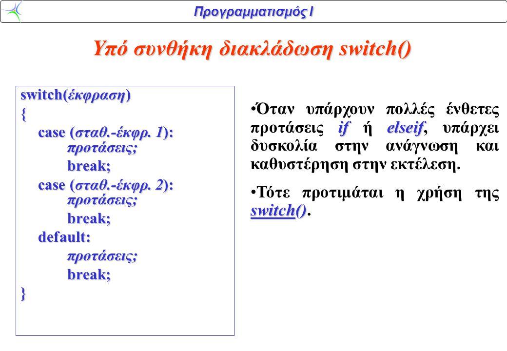Προγραμματισμός Ι switch() (συνέχεια) switchΗ πρόταση switch επιτρέπει τον προσδιορισμό απεριόριστου αριθμού διαδρομών ανάλογα με την τιμή της έκφρασης.