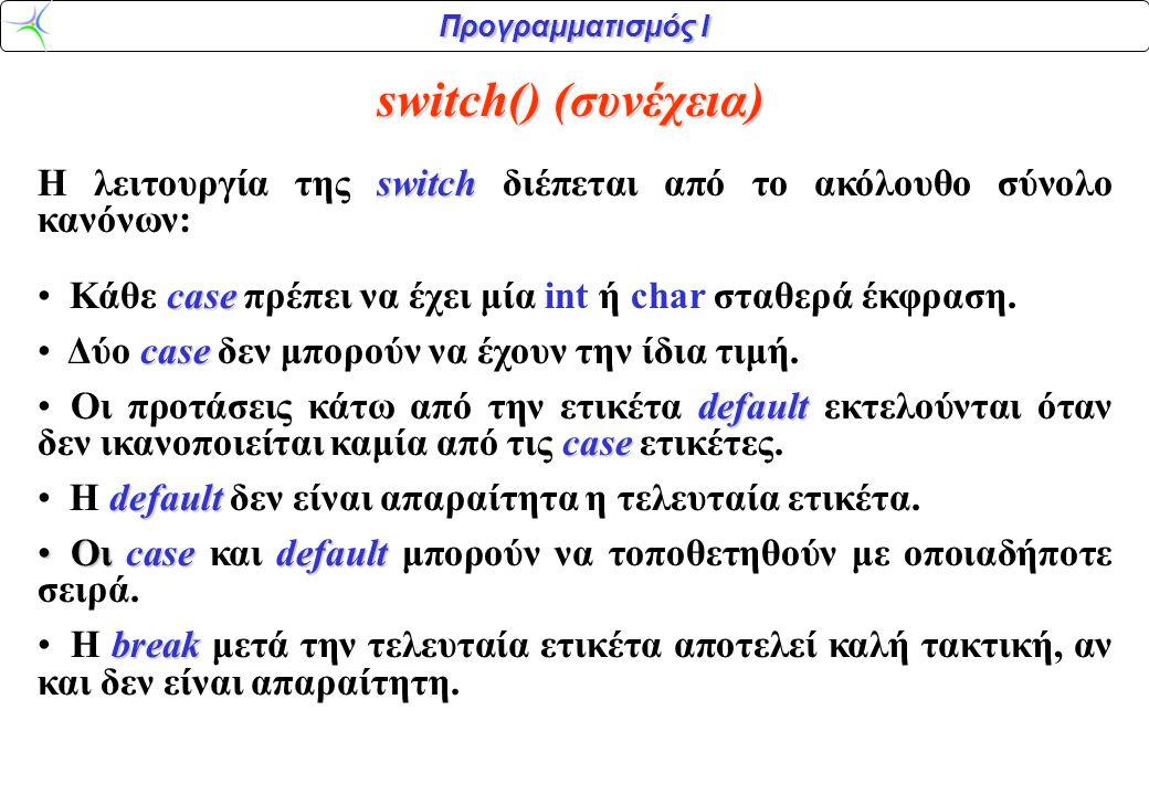Προγραμματισμός Ι Παράδειγμα:Να γραφεί τμήμα κώδικα, το οποίο να δίνει τη δυνατότητα στο χρήστη να εισάγει δύο αριθμούς και στη συνέχεια να εκτελεί επί αυτών επιλεκτικά μία από τις τέσσερις αριθμητικές πράξεις Λύση: Χρησιμοποιώντας δομημένα Ελληνικά , η διεργασία περιγράφεται ως εξής: 1.