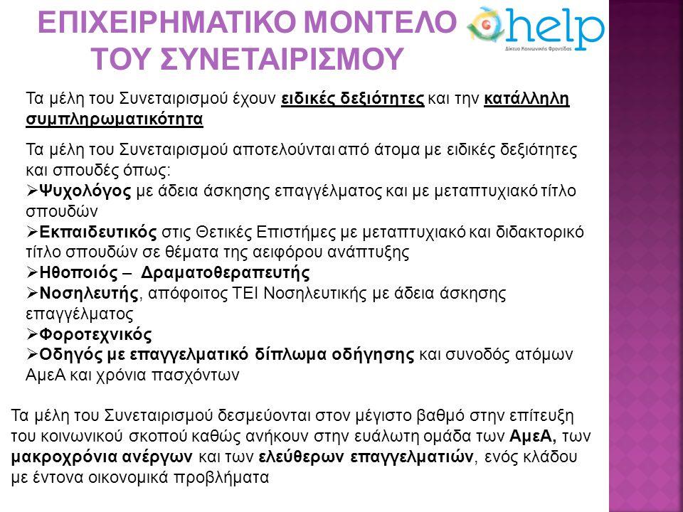 Εισαγωγή καινοτόμων υπηρεσιών προς όφελος των ατόμων με προβλήματα όρασης  Πρόγραμμα της ενισχυτικής διδασκαλίας ατόμων που ανήκουν σε ευάλωτες ομάδας, παιδιά με προβλήματα όρασης, με ειδικό επιστημονικό προσωπικό στο ΚΕΑΤ Αθήνας – Θεσσαλονίκης  Την υποστήριξη λειτουργίας του ΚΕΑΤ Αθήνας και του Παραρτήματος Θεσσαλονίκης για τη φροντίδα των παιδιών με προβλήματα όρασης κατά την διάρκεια της φιλοξενίας τους με εξειδικευμένο επιστημονικό προσωπικό Ευκαιρίες και προβλήματα για την ανάπτυξη της επιχείρησης