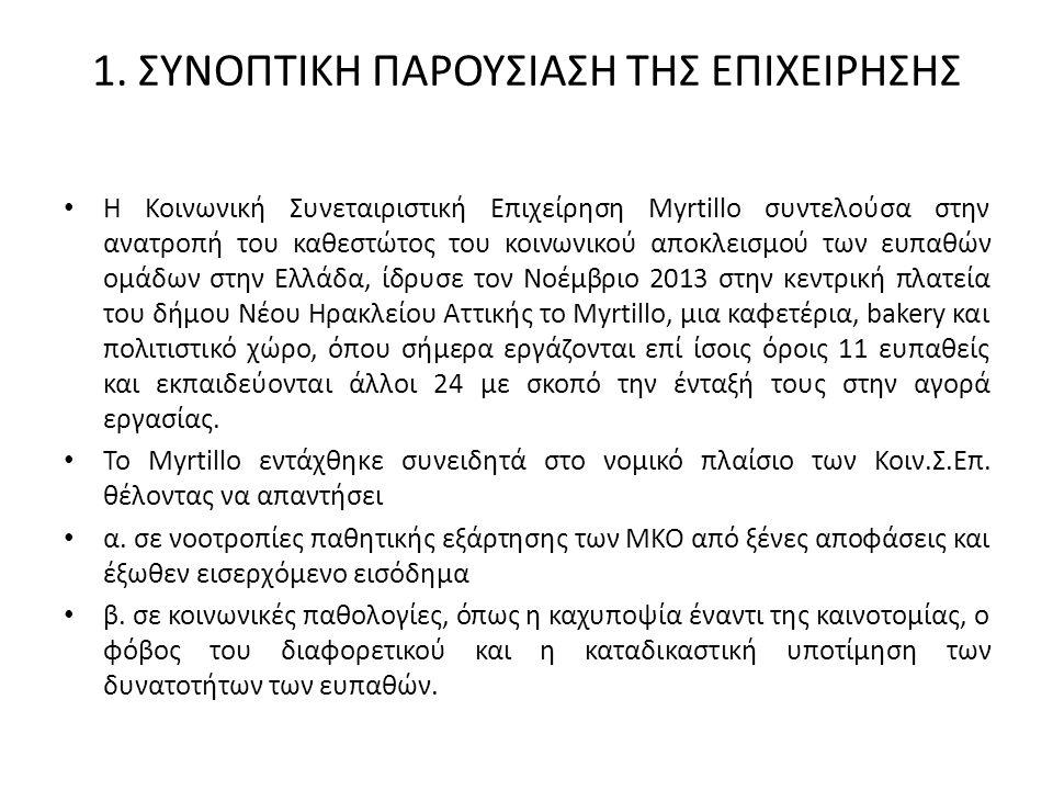 1. ΣΥΝΟΠΤΙΚΗ ΠΑΡΟΥΣΙΑΣΗ ΤΗΣ ΕΠΙΧΕΙΡΗΣΗΣ Η Κοινωνική Συνεταιριστική Επιχείρηση Myrtillo συντελούσα στην ανατροπή του καθεστώτος του κοινωνικού αποκλεισ