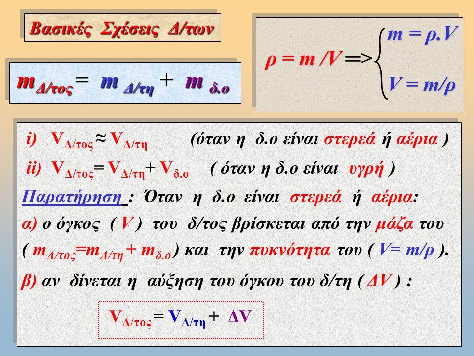 Διαλύματα :Περιεκτικότητα δ/τος - Διαλυτότητα m Δ/τος m δ.ο m Δ/τη Διαλύτης (Δ/της ) (π.χ.