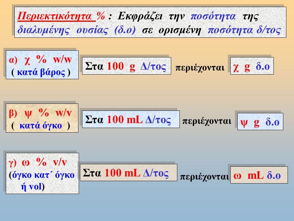 m Δ/τος m Δ/τη m δ.ο m Δ/τος = m Δ/τη + m δ.ο i) V Δ/τος ≈ V Δ/τη (όταν η δ.ο είναι στερεά ή αέρια ) ii) V Δ/τος = V Δ/τη + V δ.ο ( όταν η δ.ο είναι υγρή ) Παρατήρηση : Όταν η δ.ο είναι στερεά ή αέρια: α) ο όγκος ( V ) του δ/τος βρίσκεται από την μάζα του ( m Δ/τος =m Δ/τη + m δ.ο ) και την πυκνότητα του ( V= m/ρ ).