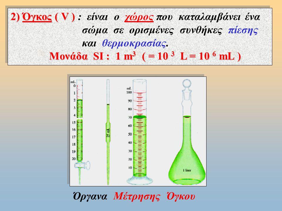 Γνωρίσματα της ύλης § 1.2 : Γνωρίσματα της ύλης 1) Mάζα ( m ) 1) Mάζα ( m ) : είναι το μέτρο της αντίστασης που εμφανίζει ένα σώμα στην αλλαγή της ταχύτητας του και είναι ανάλογη της ποσότητας της ύλης που περιέχεται σ΄ αυτό.