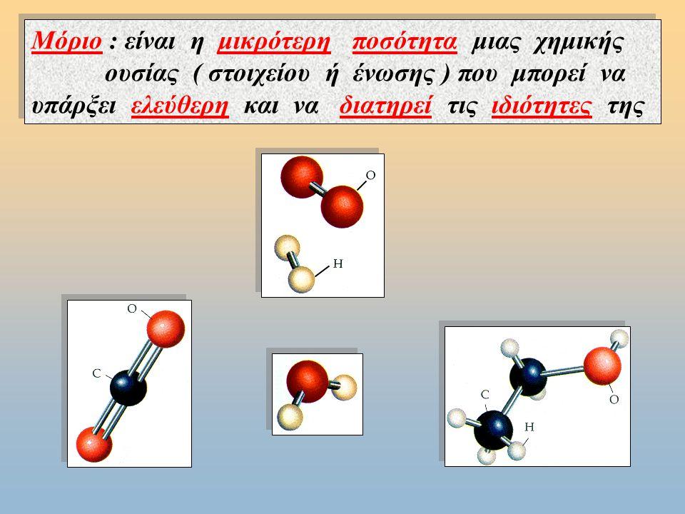 Μόριο : είναι η μικρότερη ποσότητα μιας χημικής ουσίας ( στοιχείου ή ένωσης ) που μπορεί να υπάρξει ελεύθερη και να διατηρεί τις ιδιότητες της Μόριο : είναι η μικρότερη ποσότητα μιας χημικής ουσίας ( στοιχείου ή ένωσης ) που μπορεί να υπάρξει ελεύθερη και να διατηρεί τις ιδιότητες της