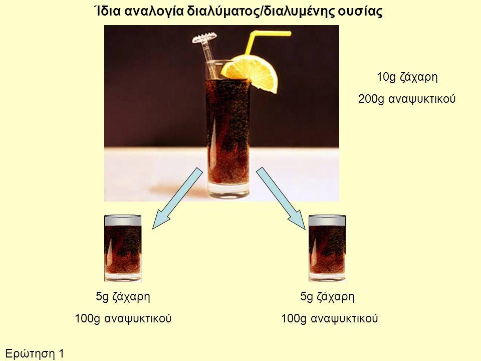 10g ζάχαρη 200g αναψυκτικού 5g ζάχαρη 100g αναψυκτικού 5g ζάχαρη 100g αναψυκτικού Ίδια αναλογία διαλύματος/διαλυμένης ουσίας Ερώτηση 1
