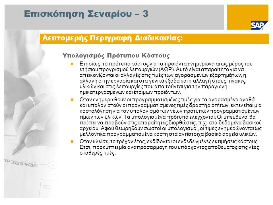 Επισκόπηση Σεναρίου – 3 Υπολογισμός Πρότυπου Κόστους Ετησίως, το πρότυπο κόστος για τα προϊόντα ενημερώνεται ως μέρος του ετήσιου προγρ/σμού λειτουργιών (AOP).