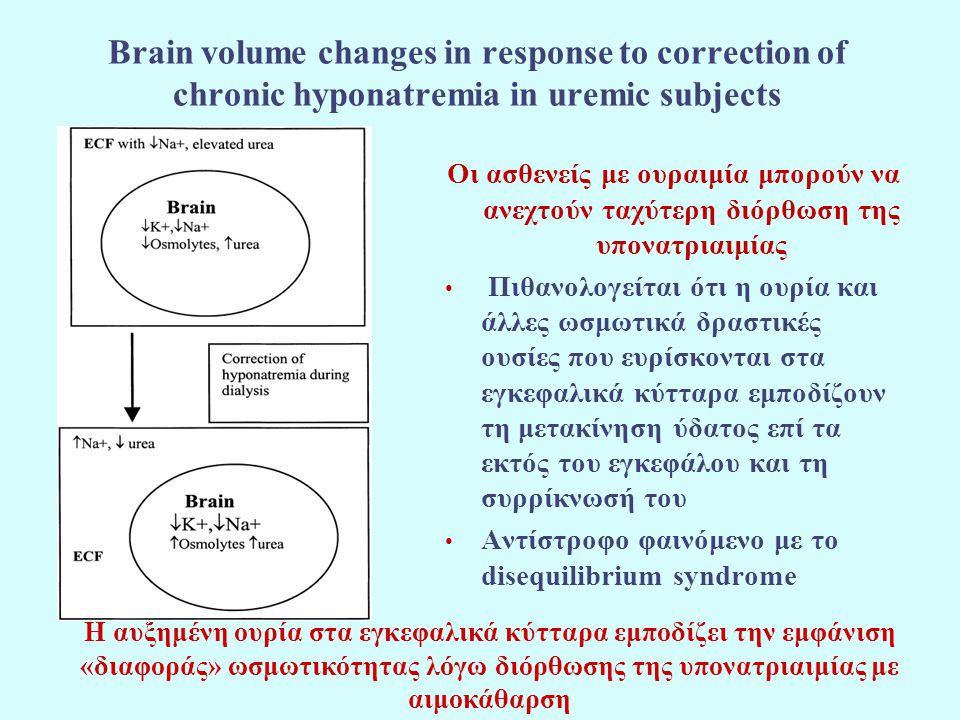 Brain volume changes in response to correction of chronic hyponatremia in uremic subjects Οι ασθενείς με ουραιμία μπορούν να ανεχτούν ταχύτερη διόρθωσ