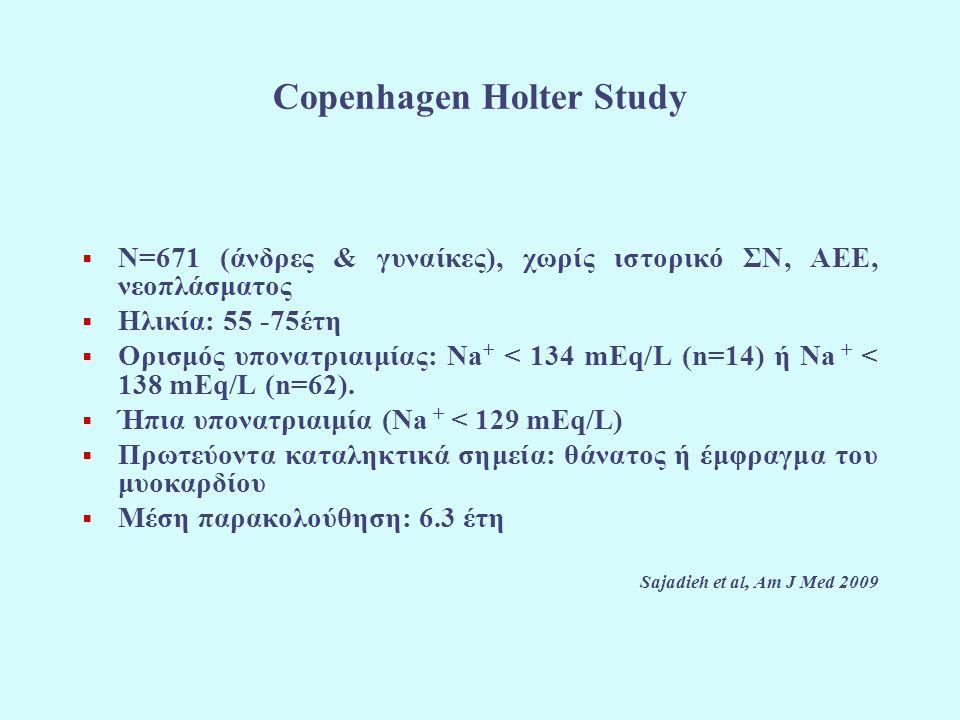 Copenhagen Holter Study  N=671 (άνδρες & γυναίκες), χωρίς ιστορικό ΣΝ, ΑΕΕ, νεοπλάσματος  Ηλικία: 55 -75έτη  Ορισμός υπονατριαιμίας: Na + < 134 mEq