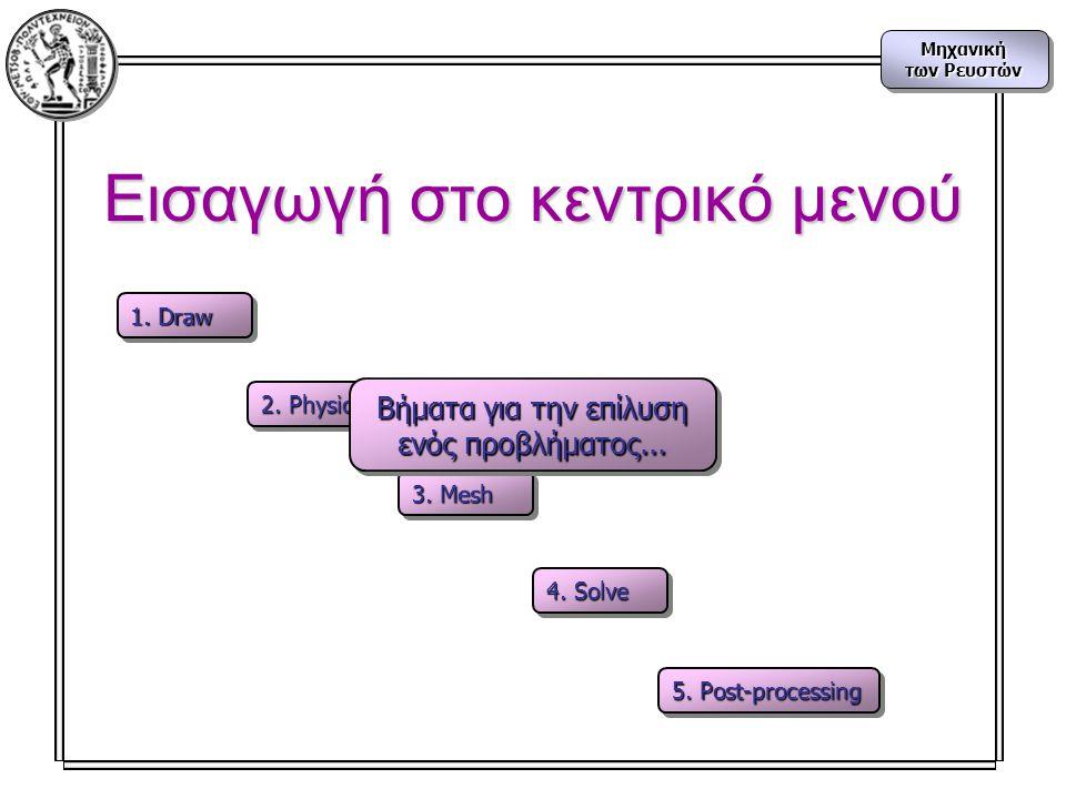 Μηχανική των Ρευστών Μηχανική Εισαγωγή στο κεντρικό μενού 1. Draw 2. Physics 3. Mesh 4. Solve 5. Post-processing Βήματα για την επίλυση ενός προβλήματ