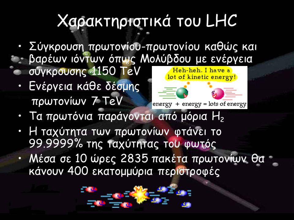 Χαρακτηριστικά του LHC Σύγκρουση πρωτονίου-πρωτονίου καθώς και βαρέων ιόντων όπως Μολύβδου με ενέργεια σύγκρουσης 1150 TeV Ενέργεια κάθε δέσμης πρωτον