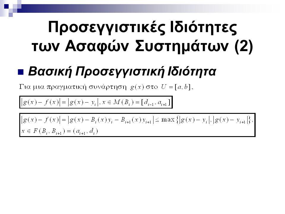 Προσεγγιστικές Ιδιότητες των Ασαφών Συστημάτων (2) Βασική Προσεγγιστική Ιδιότητα