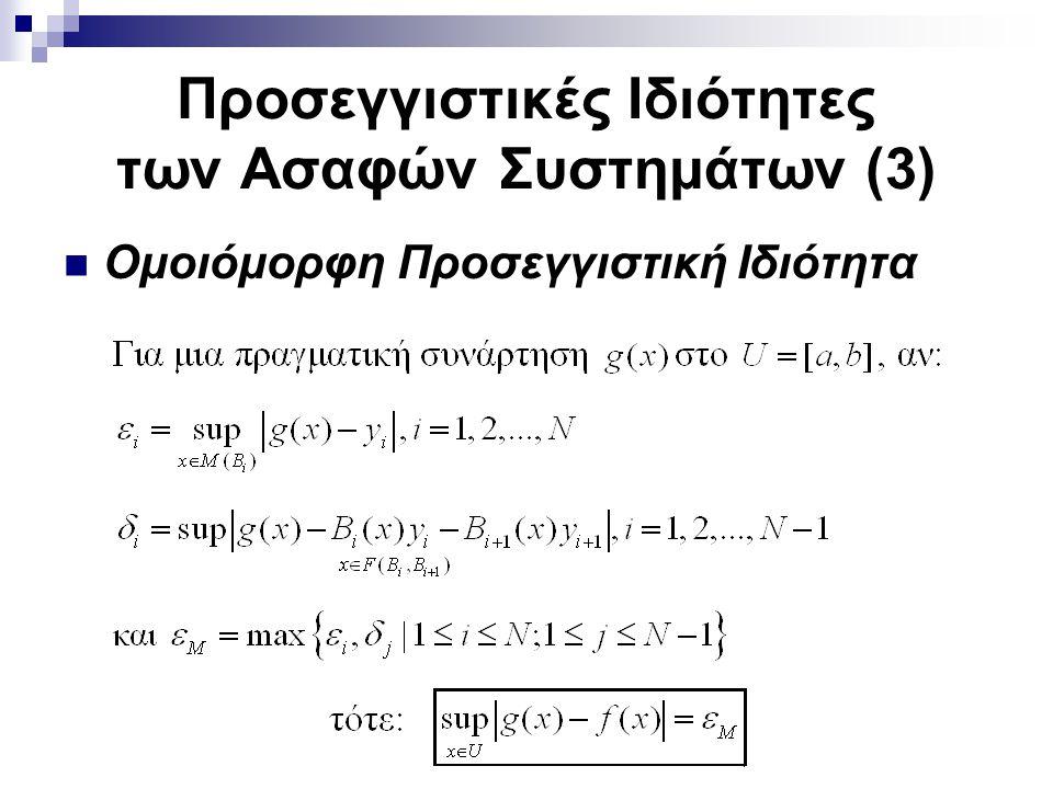 Προσεγγιστικές Ιδιότητες των Ασαφών Συστημάτων (3) Ομοιόμορφη Προσεγγιστική Ιδιότητα