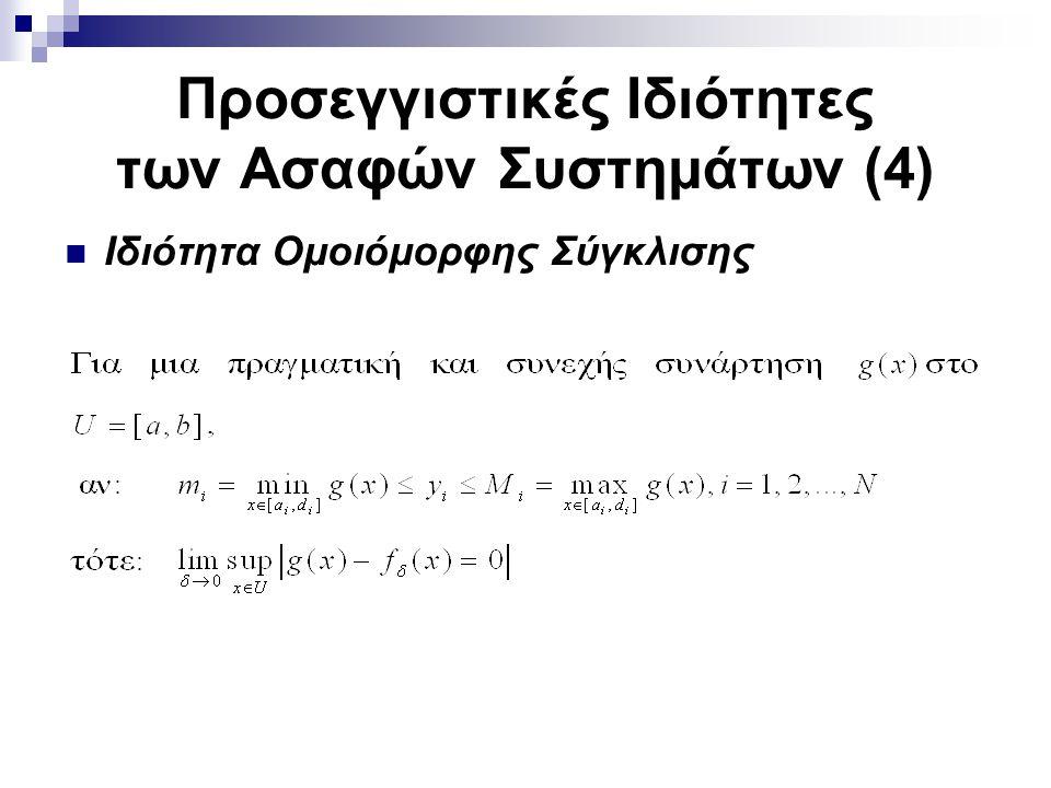 Προσεγγιστικές Ιδιότητες των Ασαφών Συστημάτων (4) Ιδιότητα Ομοιόμορφης Σύγκλισης