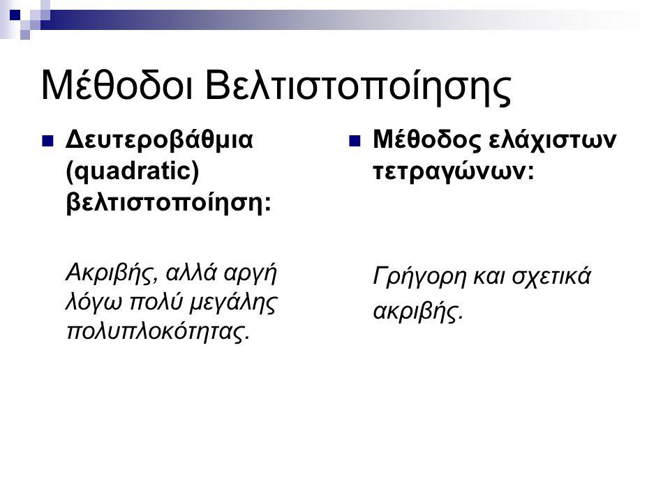 Μέθοδοι Βελτιστοποίησης Δευτεροβάθμια (quadratic) βελτιστοποίηση: Ακριβής, αλλά αργή λόγω πολύ μεγάλης πολυπλοκότητας.