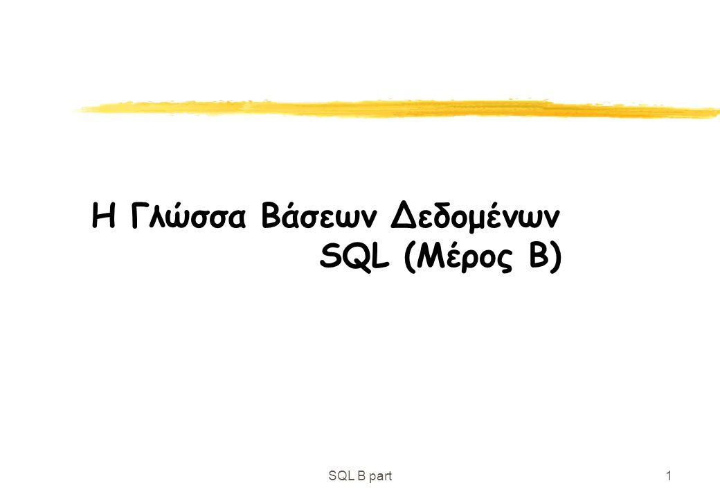 SQL B part32 Ορισμός Σχήματος Επίσης, πιο περίπλοκες συνθήκες, π.χ., για ξένα κλειδιά: check (Όνομα-Υποκαταστήματος in select Όνομα-Υποκαταστήματος from Υποκατάστημα)