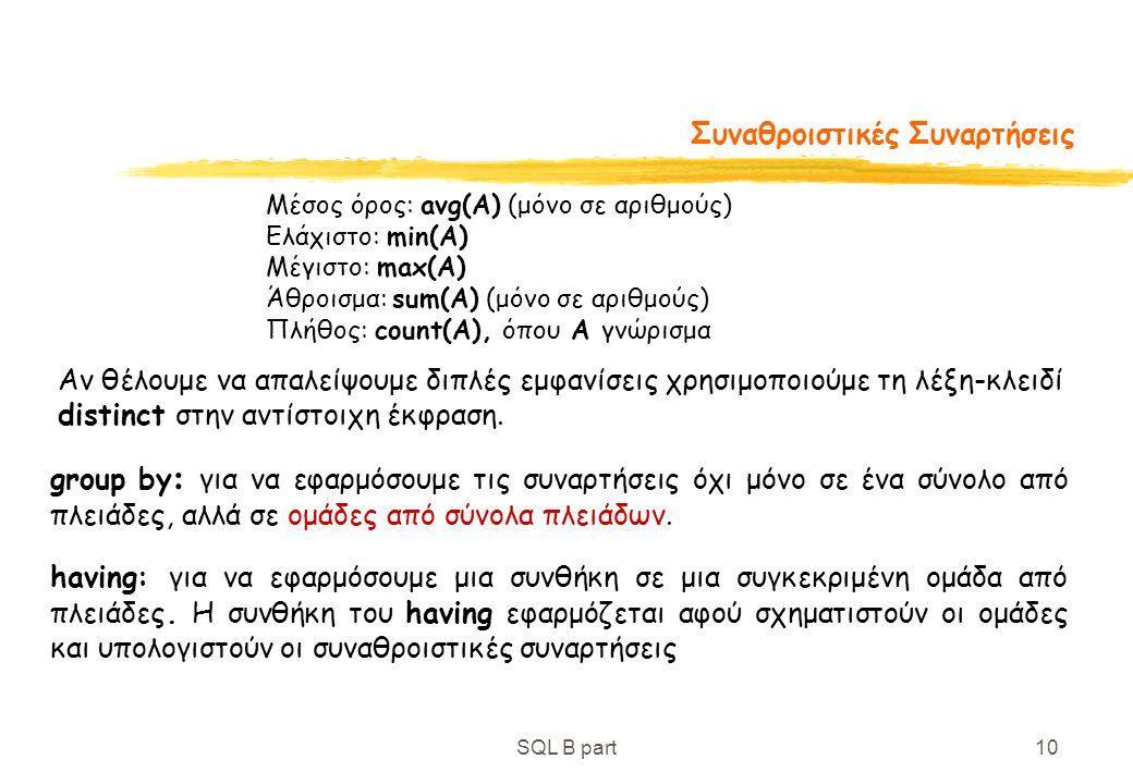 SQL B part10 Συναθροιστικές Συναρτήσεις Μέσος όρος: avg(A) (μόνο σε αριθμούς) Ελάχιστο: min(A) Μέγιστο: max(A) Άθροισμα: sum(A) (μόνο σε αριθμούς) Πλή