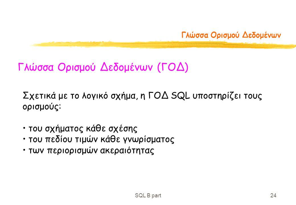 SQL B part24 Γλώσσα Ορισμού Δεδομένων Γλώσσα Ορισμού Δεδομένων (ΓΟΔ) Σχετικά με το λογικό σχήμα, η ΓΟΔ SQL υποστηρίζει τους ορισμούς: του σχήματος κάθ