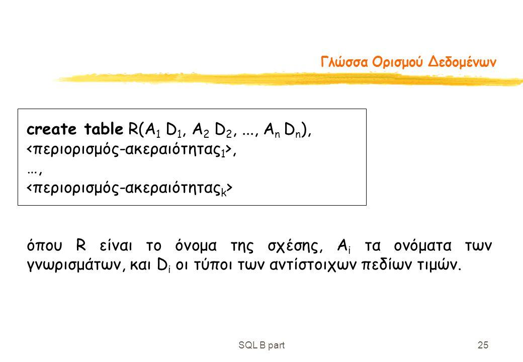 SQL B part25 Γλώσσα Ορισμού Δεδομένων create table R(A 1 D 1, A 2 D 2,..., A n D n ),, …, όπου R είναι το όνομα της σχέσης, A i τα ονόματα των γνωρισμ