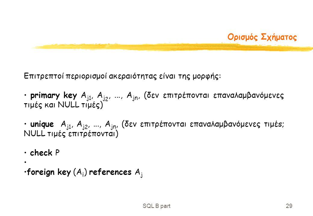 SQL B part29 Ορισμός Σχήματος Επιτρεπτοί περιορισμοί ακεραιότητας είναι της μορφής: primary key A j 1, A j 2,..., A j n, (δεν επιτρέπονται επαναλαμβαν