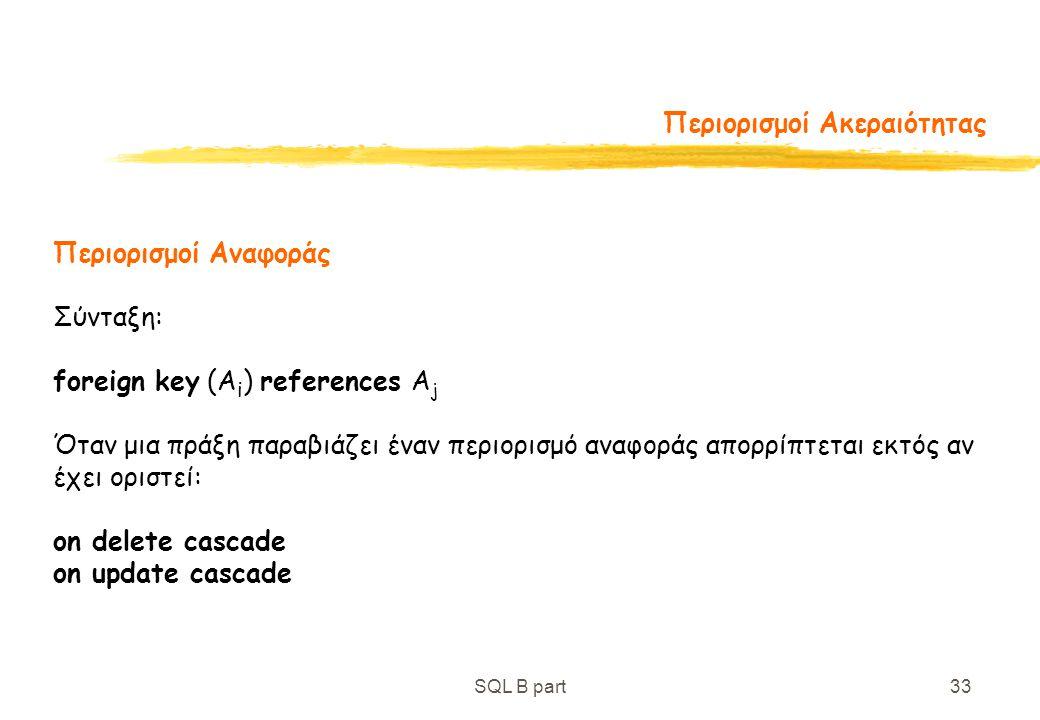 SQL B part33 Περιορισμοί Ακεραιότητας Περιορισμοί Αναφοράς Σύνταξη: foreign key (A i ) references A j Όταν μια πράξη παραβιάζει έναν περιορισμό αναφορ