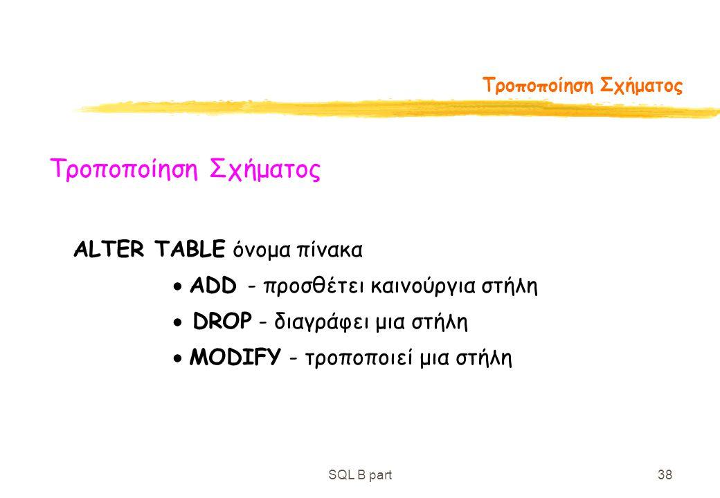 SQL B part38 Τροποποίηση Σχήματος ALTER TABLE όνομα πίνακα  ADD - προσθέτει καινούργια στήλη  DROP - διαγράφει μια στήλη  MODIFY - τροποποιεί μια σ