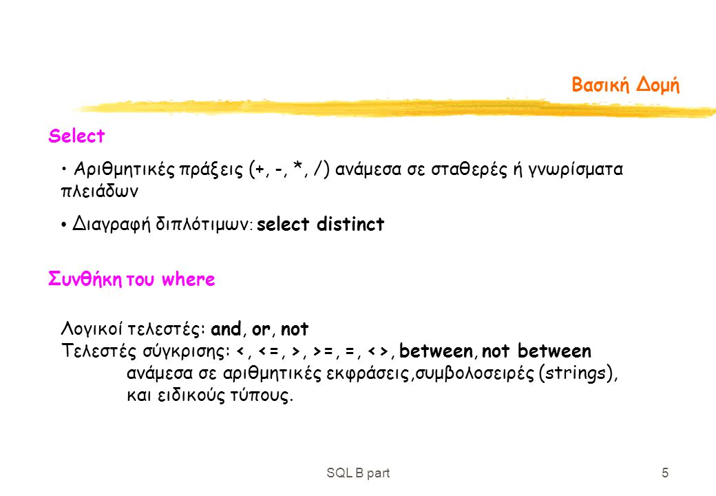 SQL B part5 Βασική Δομή Αριθμητικές πράξεις (+, -, *, /) ανάμεσα σε σταθερές ή γνωρίσματα πλειάδων Select Διαγραφή διπλότιμων : select distinct Συνθήκ