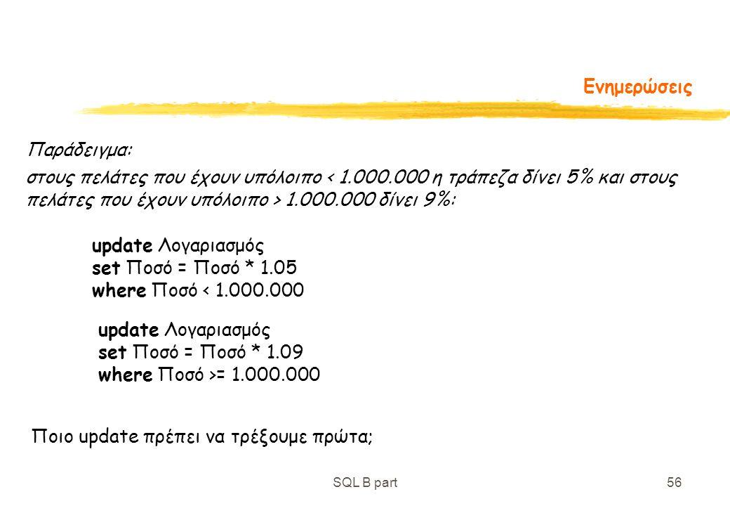 SQL B part56 Ενημερώσεις Παράδειγμα: στους πελάτες που έχουν υπόλοιπο 1.000.000 δίνει 9%: update Λογαριασμός set Ποσό = Ποσό * 1.05 where Ποσό < 1.000