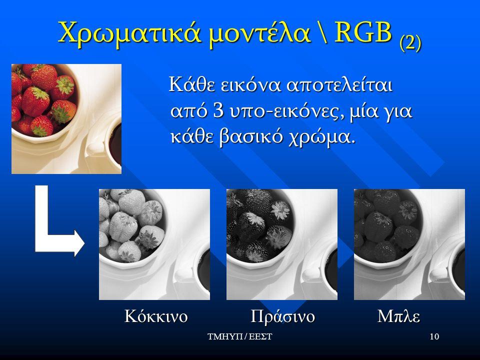 ΤΜΗΥΠ / ΕΕΣΤ10 Χρωματικά μοντέλα \ RGB (2) Κάθε εικόνα αποτελείται από 3 υπο-εικόνες, μία για κάθε βασικό χρώμα.