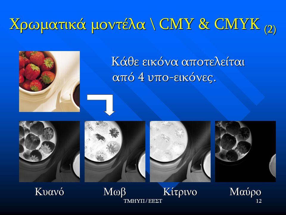 ΤΜΗΥΠ / ΕΕΣΤ12 Χρωματικά μοντέλα \ CMY & CMYK (2) Κάθε εικόνα αποτελείται από 4 υπο-εικόνες. Κάθε εικόνα αποτελείται από 4 υπο-εικόνες.ΚυανόΜωβΚίτρινο