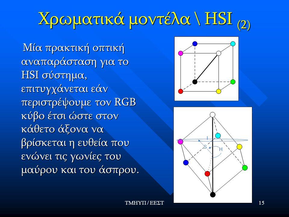 ΤΜΗΥΠ / ΕΕΣΤ15 Χρωματικά μοντέλα \ HSI (2) Μία πρακτική οπτική αναπαράσταση για το HSΙ σύστημα, επιτυγχάνεται εάν περιστρέψουμε τον RGB κύβο έτσι ώστε στον κάθετο άξονα να βρίσκεται η ευθεία που ενώνει τις γωνίες του μαύρου και του άσπρου.